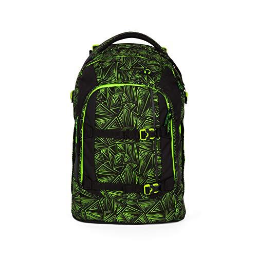 satch Pack Green Bermuda, ergonomischer Schulrucksack, 30 Liter, Organisationstalent, Schwarz/Grün