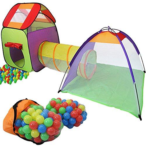 KIDUKU Kinderspielzelt Bällebad Pop Up Spielzelt Iglu Spielhaus + Krabbeltunnel + 200 Bälle + Tasche, für...