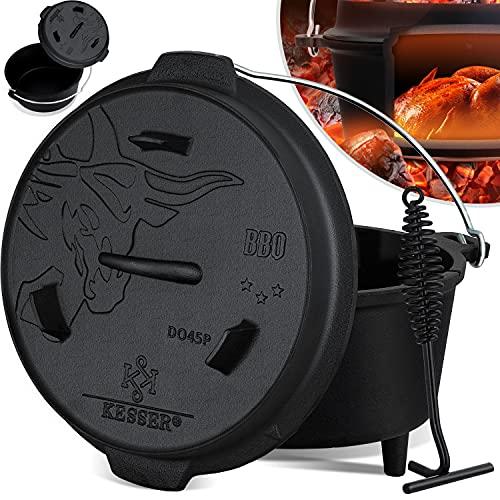 KESSER® Dutch Oven Set BBQ 4,2 Liter, Feuertopf Schmortopf mit Füßen, Gusseisen Topf mit Deckelheber Henkel...