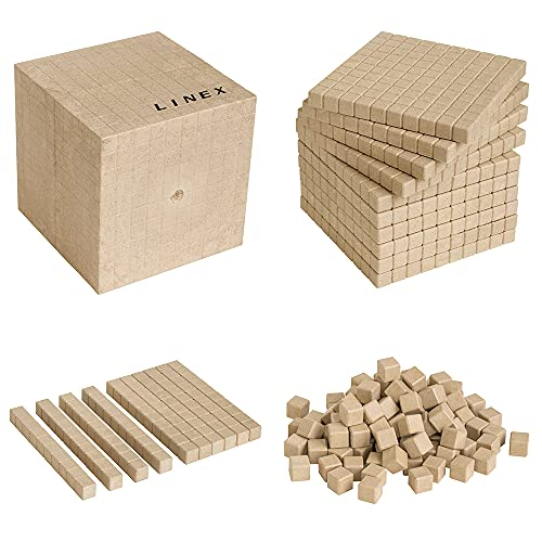 LINEX Lern-Set Basisset 'Zählen und Rechnen' Dezimalsystem, 121 Teile, aus recyceltem Holz