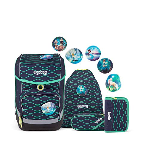 Ergobag cubo BlubbBär, ergonomischer Schulrucksack, Set 5-teilig, 19 Liter, 1.100 g, blau