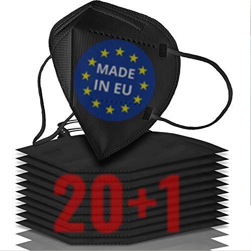 21x FFP2 Maske schwarz CE zertifiziert MADE IN EUROPE - Geprüfte schwarze FFP2 Maske - 5 Lagen Maske FFP2...