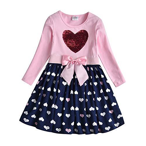 DXTON Mädchen Kleider Pailletten Muster Frühling Sommer Kleidung Party Kids Trägerklei Herz5740, Herz5740,...