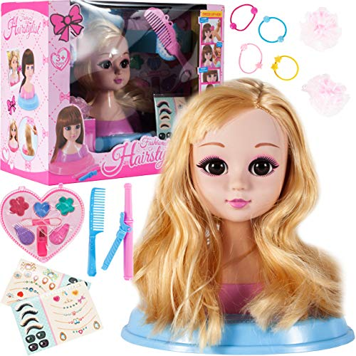 MalPlay Frisierkopf inklusiv Kosmetik und Zubehör | Schminkkopf mit Langen Haaren zum Stylen | Styling Kopf |...