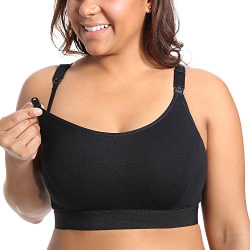 Gratlin Damen Baumwolle Still BH - ohne Bügel Große Größen Schwangerschafts BH Schwarz 4XL