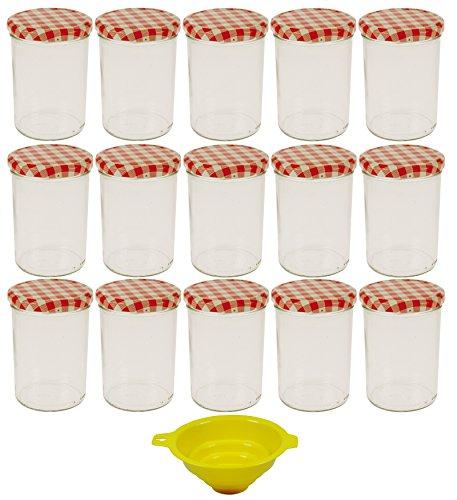 Viva Haushaltswaren - 15 x großes Marmeladenglas / Einmachglas 440 ml mit Deckel, Twist-off Gläser Set rund...