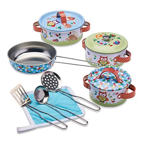 """Wobbly Jelly – """"Waldtiere"""" Spielküchenset – 11-teiliges Kinder Geschirrset mit Töpfen und Pfannen..."""