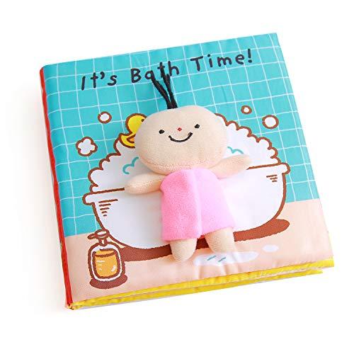Raniaco Fühlbuch Baby, It's Bath Time - Babybuch, 7 Seiten mit kleine Puppe, Quietschem Papier für Babys und...