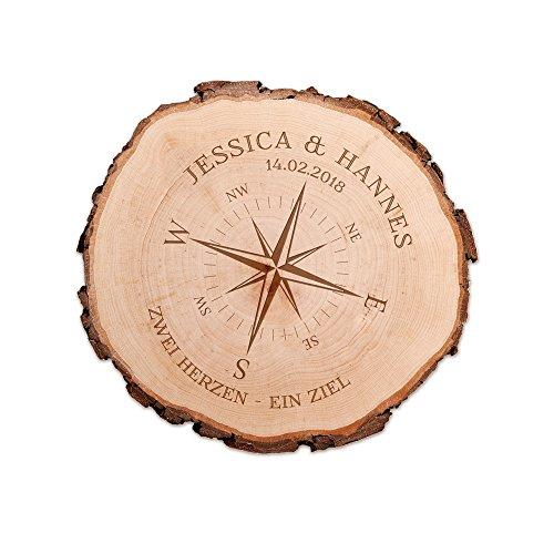 Casa Vivente Baumscheibe aus echtem Holz mit Rinde und Gravur für Paare, Motiv Kompass, Personalisiert mit...