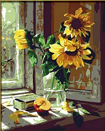 Dorara DIY Ölgemälde für Erwachsene Kinder malen nach Zahl Kit Digital Ölgemälde Sonnenblume Blume 16x20...