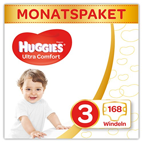 Huggies Windeln Ultra Comfort Baby Größe 3 Monatsbox, 1er Pack (1 x 168 Stück)