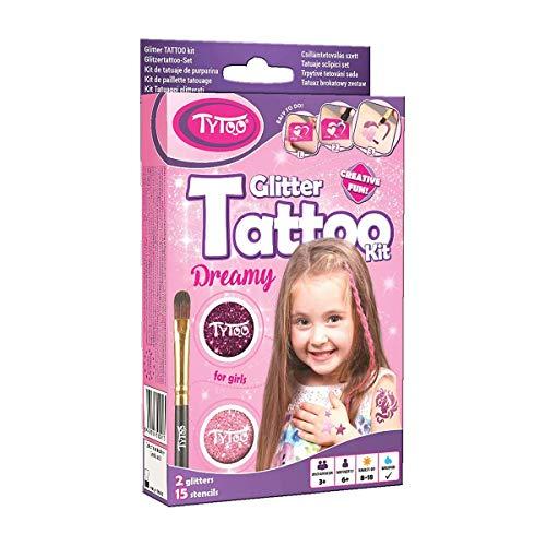 Tytoo Glitzertattoo Set für Mädchen mit 15 Schablonen- hypoallergen und hält bis zu 18 Tage - 100%...
