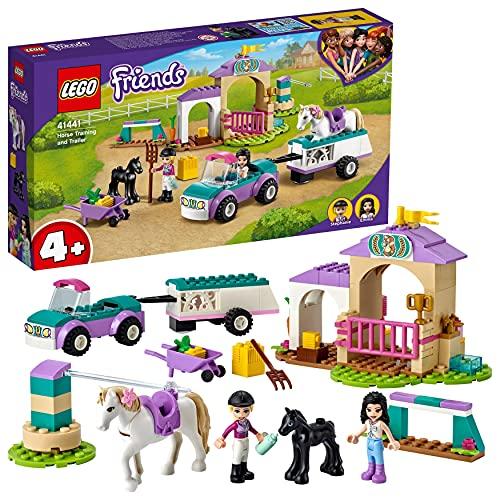 LEGO 41441 Friends Trainingskoppel und Pferdeanhänger, Spielzeug ab 4 Jahre für Mädchen und Jungen mit...
