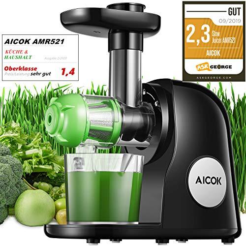 Slow Juicer, Aicok BPA-frei Entsafter Gemüse und Obst, Leistungsstarker Ruhiger Motor & Umkehrfunktion &...