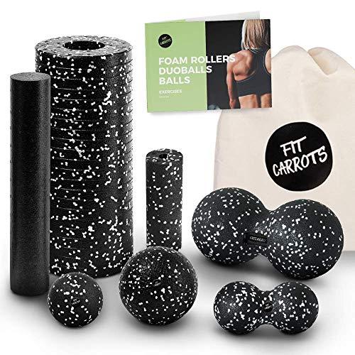 Starter-Set 6-Tlg - Faszienrolle klein und groß, Duoball 8 und 12 cm, Faszienball 8 und 12 cm - Faszienset...
