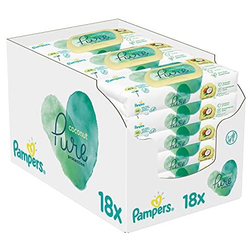 Pampers Coconut Pure Baby Feuchttücher, 756 Tücher (18 x 42) Mit Kokosnussöl Zur Reinigung Und...