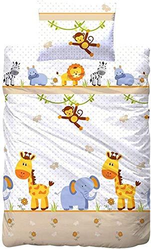 Aminata Kids Kinderbettwäsche 100 x 135 Mädchen Jungen mit Zoo-Tieren, Giraffe, AFFE, Löwe, Zebra &...