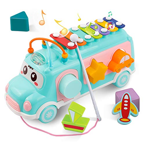 DeeXop Babyspielzeug 12-18 Monate+ Aktivität Würfel Spielzeug Bus enthält Xylophon, Form-Sortierer, ziehen...