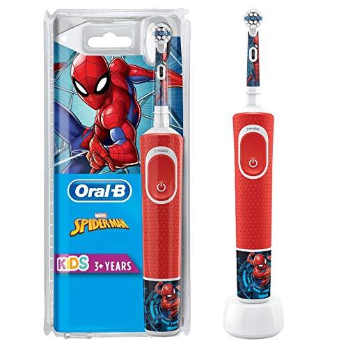 Oral-B Kids Spiderman Elektrische Zahnbürste für Kinder ab 3 Jahren, kleiner Bürstenkopf & weiche Borsten,...