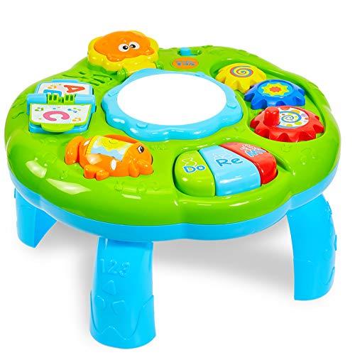 HERSITY Baby Spieltisch Musikspielzeug Spiel Lerntisch Activity Table Babyspielzeug Geschenk für Kinder ab 18...