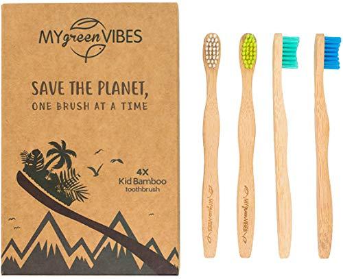 My Green Vibes Bambus-Zahnbürsten für Kinder – natürliche Holz-Zahnbürste – hochwertige, weiche...