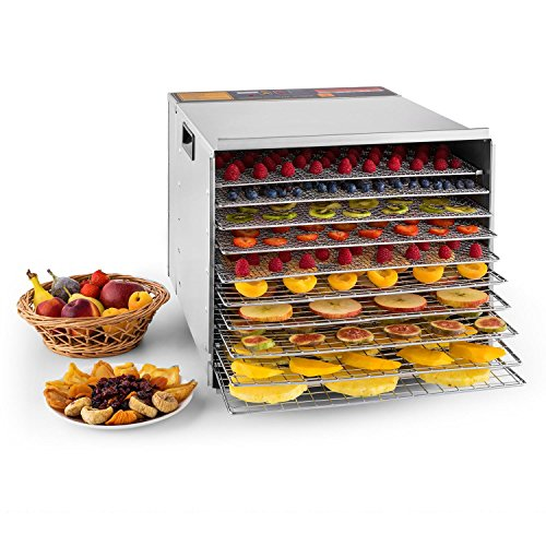 Klarstein Fruit Jerky Pro 10 - Dörrgerät, Dörrautomat, 1000 Watt, 10 Etagen, einzeln entnehmbar,...