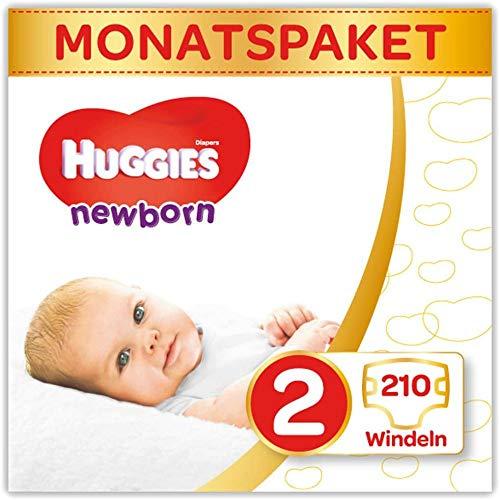 Huggies Newborn Baby Windeln Größe 2, 3 bis 6 kg, Für Neugeborene, Mit Nässeindikator, 210 Windeln,...