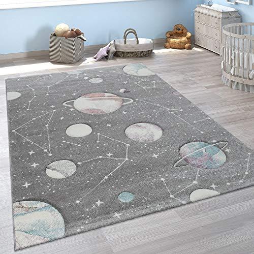 Paco Home Kinder-Teppich, Spiel-Teppich Für Kinderzimmer Mit Planeten Und Sternen, In Grau, Grösse:120x170...