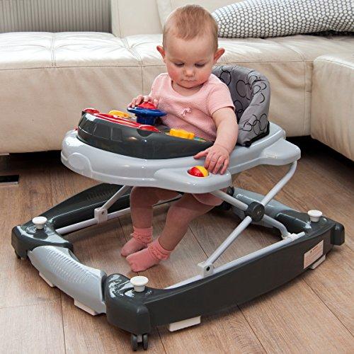 2IN1 Lauflernhilfe mit Schaukelfunktion + Spielcenter (12 Melodien+Licht) Gehfrei Gehhilfe Baby Walker...
