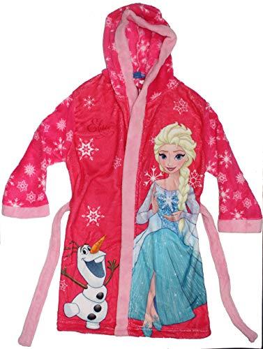 Disney Frozen Die Eiskönigin Mädchen Bademantel mit Kapuze (128-134, Pink)