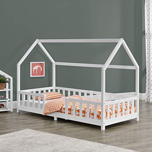 Kinderbett Sisimiut 90x200 cm Hausbett mit Rausfallschutz Bettenhaus mit Lattenrost Kiefernholz Weiß