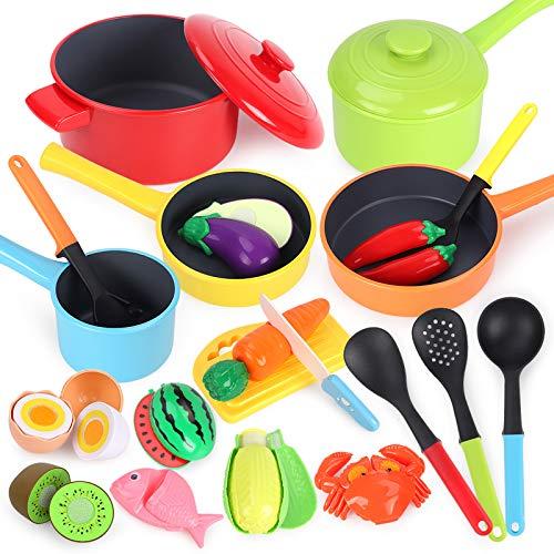 GILOBABY Küchenspielzeug für Kinder,kindergeschirr spielküche mit 23 pcs Zubehör,Schneiden Lebensmittel...