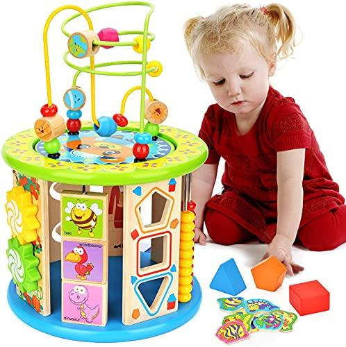 Elover Motorikwürfel Kleine Tierchen 10 in 1 Holzwürfel Spielzeug für Kinder,aus Holz Labyrinth...