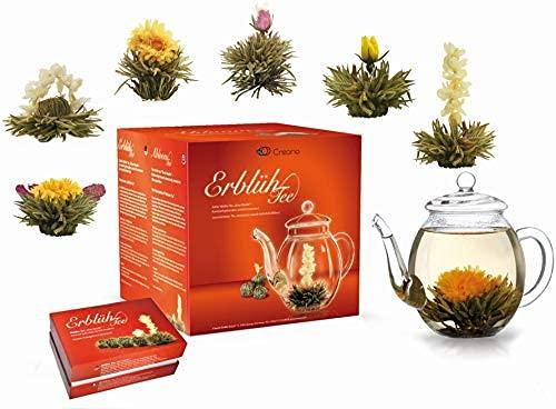 Creano Teeblumen Mix - Geschenkset Erblühtee Frühjahrslese mit Glaskanne Weißer Tee in 6 Sorten, Teerosen,...