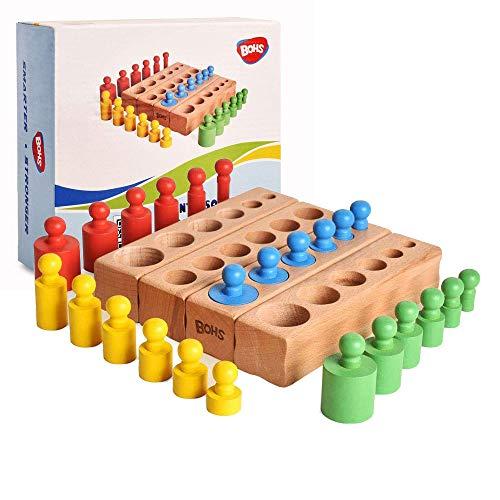 BOHS Montessori Zylinderblöcke Steckpuzzle - 6 Knöpfe 6,7 Zoll - Bunte hölzerne frühe Heimschulspielzeug -...