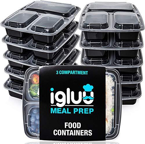 [10er Pack] 3-Fach Meal Prep Container Von Igluu - Essensbox, Lunchbox Mikrowellengeeignet, Spülmaschinenfest...