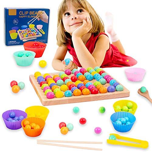Holz Go Spiele Set,Montessori Pädagogisches,Regenbogen Clip Perlen Puzzle Brettspiele,Clip Perlen Spiel...
