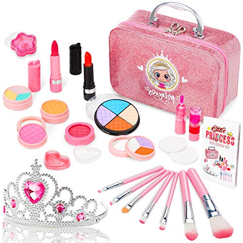 Jojoin Kinderschminke Set Mädchen, 22PCS Waschbar Schminke Kinder Makeup Set Mädchen mit Prinzessin Krone,...