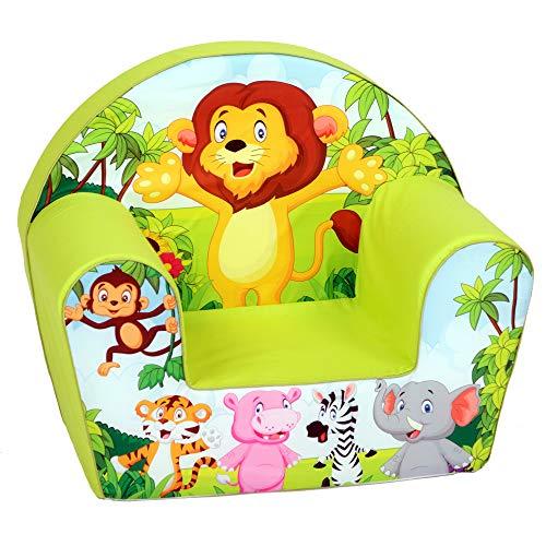 DELSIT Kindersessel Babysessel Kinder Sessel Baby Sitz Kindermöbel für Jungen Zoo Grün