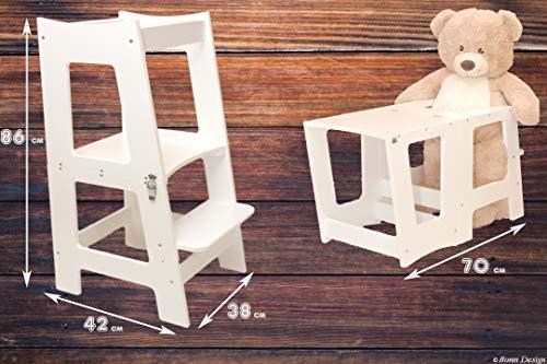 2in1 Montessori Lernturm für Kinder Learning Tower Multifunktion Hochstuhl Tritthocker Stuhl + Tisch aus Holz...