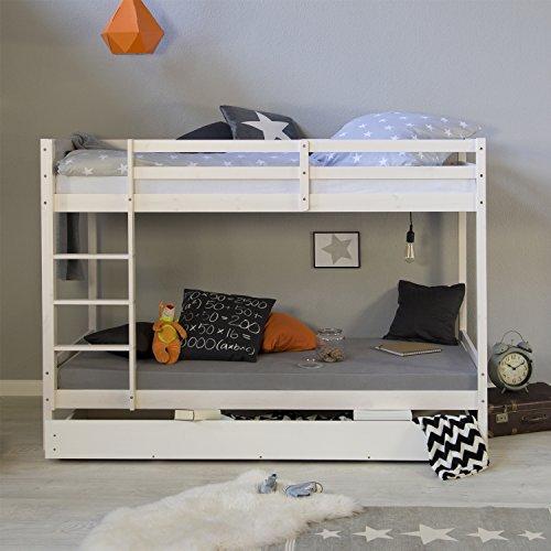 Homestyle4u 1432, Etagenbett für Kinder, Bettgestell Mit Leiter Bettkasten, Massivholz Kiefer, Weiß, 90x200...