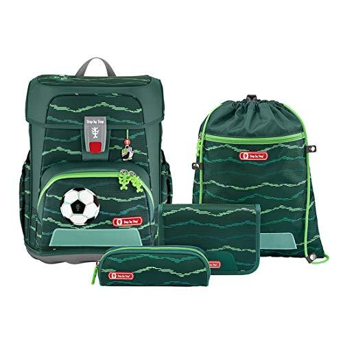 "Step by Step Schulranzen-Set Cloud ""Soccer Star"" 5-teilig, grün, Fußball-Design, ergonomischer Tornister..."