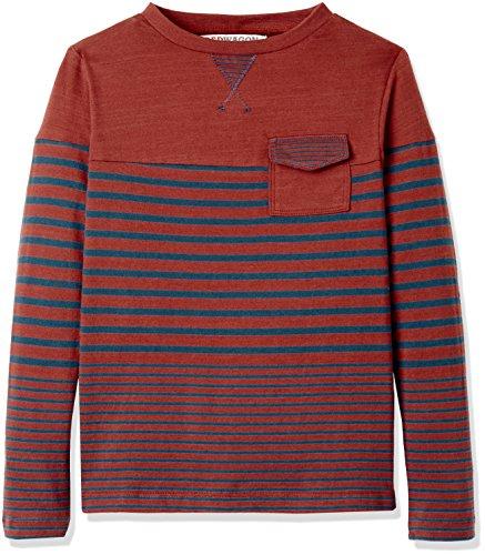 RED WAGON Jungen Langarmshirt mit Streifen, Mehrfarbig (Red/Navy), 104 (Herstellergröße: 4 Jahre)