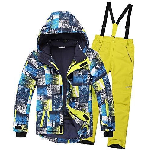 SXSHUN Jungen Skianzug 2 Teilig Skijacke + Skihose Kinder Mädchen Outdoor Warm Schneeanzug, Gelb, 134/140