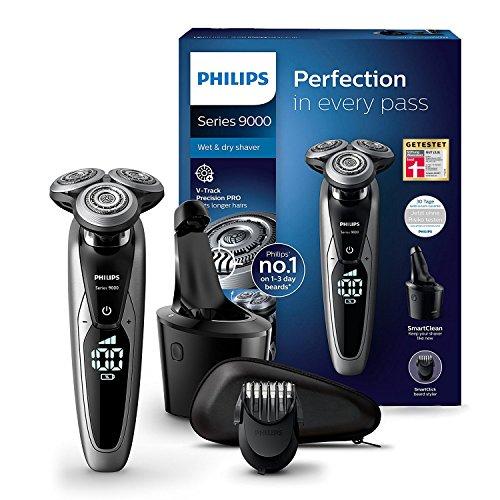 Philips S9711/31 Elektrischer Nass-und Trockenrasierer Series 9000 mit V-Track-Pro-Klingen, SmartClean...