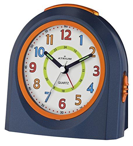 ATRIUM Wecker analog blau/orange ohne Ticken mit Licht und Snooze, Schlummerfunktion Quarz-Wecker A921-5