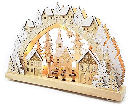 Wichtelstube-Kollektion Echtholz LED Schwibbogen mit Timer Weihnachtsdorf im Erzgebirge Original Leuchter...