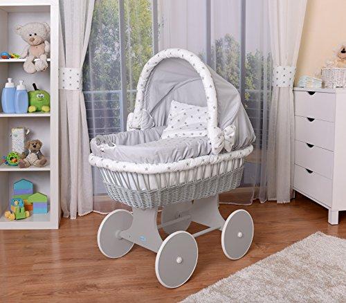 WALDIN Baby Stubenwagen-Set mit Ausstattung,XXL,Bollerwagen,komplett,26 Modelle wählbar,Gestell/Räder grau...