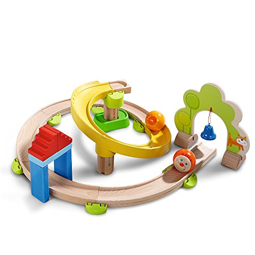 HABA 300439 - Kugelbahn Kullerbü - Kringelbahn, Holzkugelbahn mit vielen Kurven und Glöckchentor, Spielzeug...