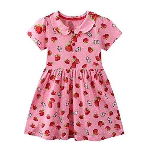 FILOWA Baby-Mädchen Kleider Kinder Kleid Erdbeere Rosa Rot Mit Kragen Sommer Kurzarm Baumwolle Casual Bunt...